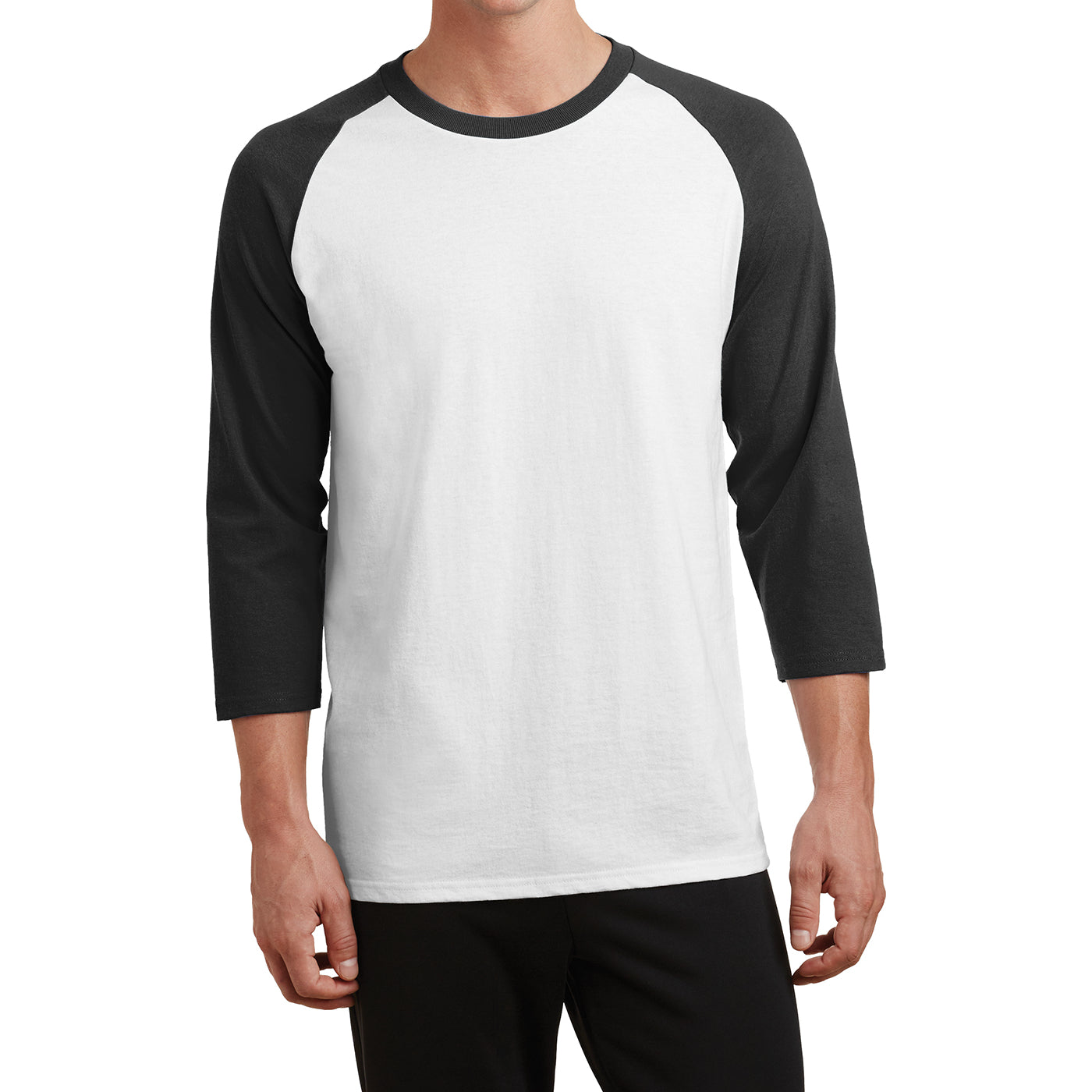Men's Core Blend 3/4-Sleeve Raglan Tee - White/ Jet Black - Front