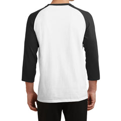 Men's Core Blend 3/4-Sleeve Raglan Tee - White/ Jet Black - Back