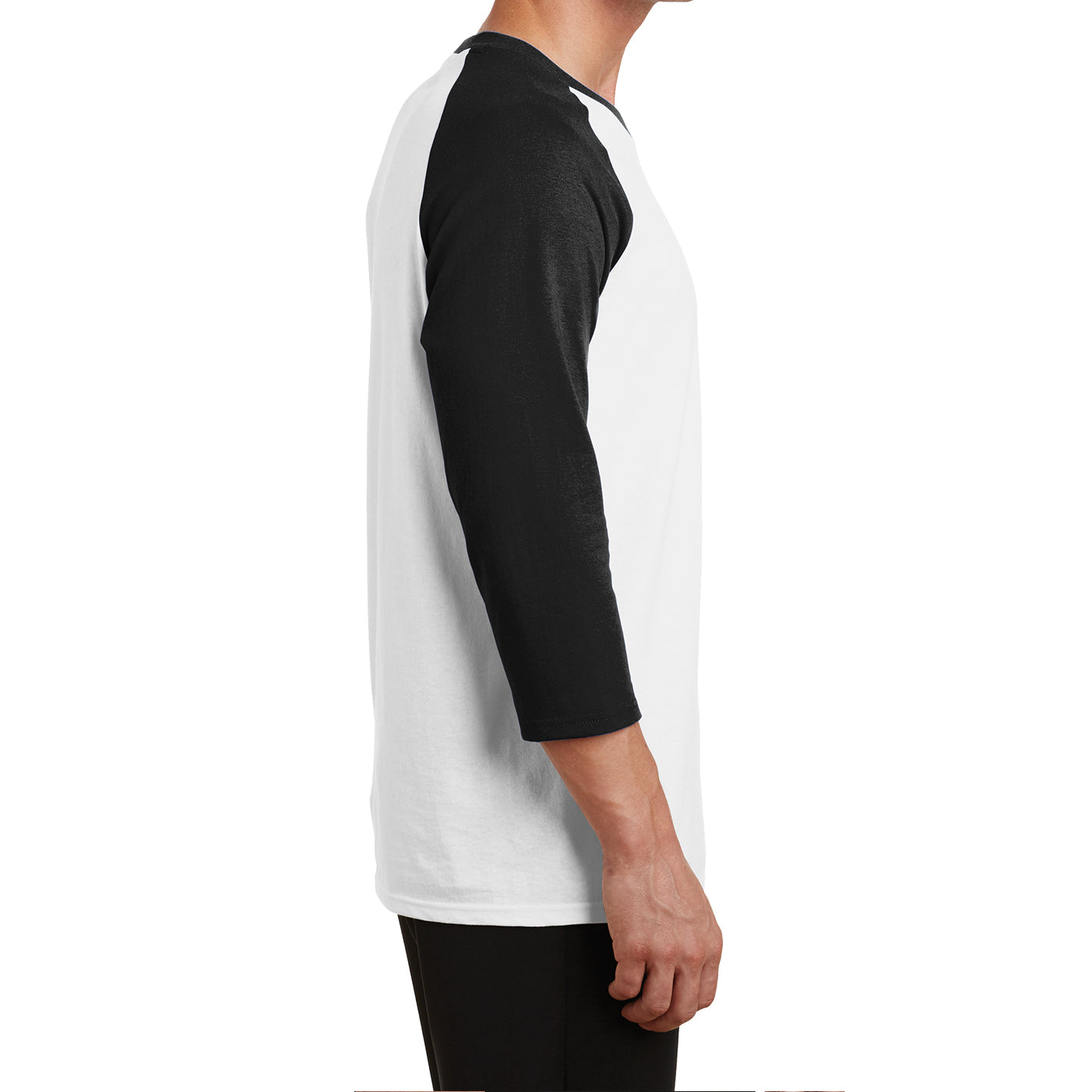 Men's Core Blend 3/4-Sleeve Raglan Tee - White/ Jet Black - Side