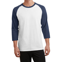 Men's Core Blend 3/4-Sleeve Raglan Tee - White/ Navy - Front