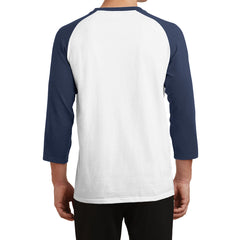 Men's Core Blend 3/4-Sleeve Raglan Tee - White/ Navy - Back