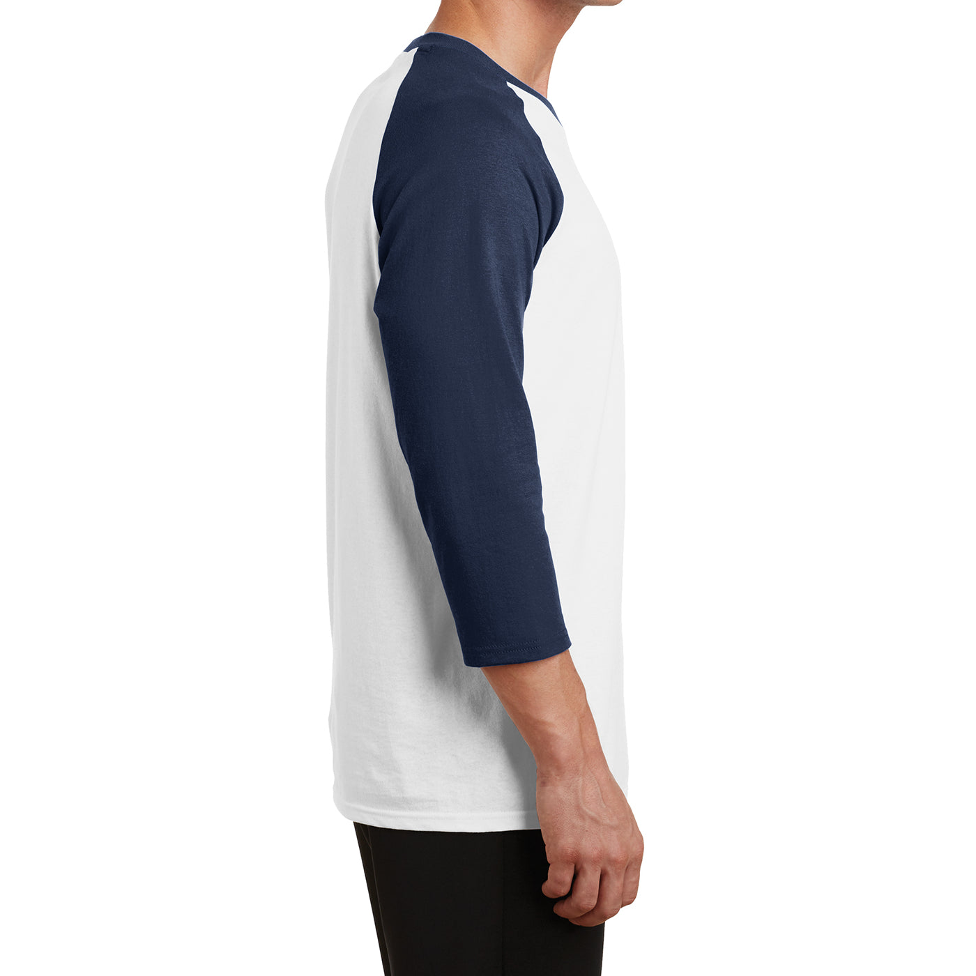 Men's Core Blend 3/4-Sleeve Raglan Tee - White/ Navy - Side