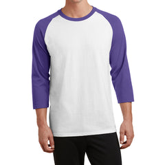 Men's Core Blend 3/4-Sleeve Raglan Tee - White/ Purple - Front