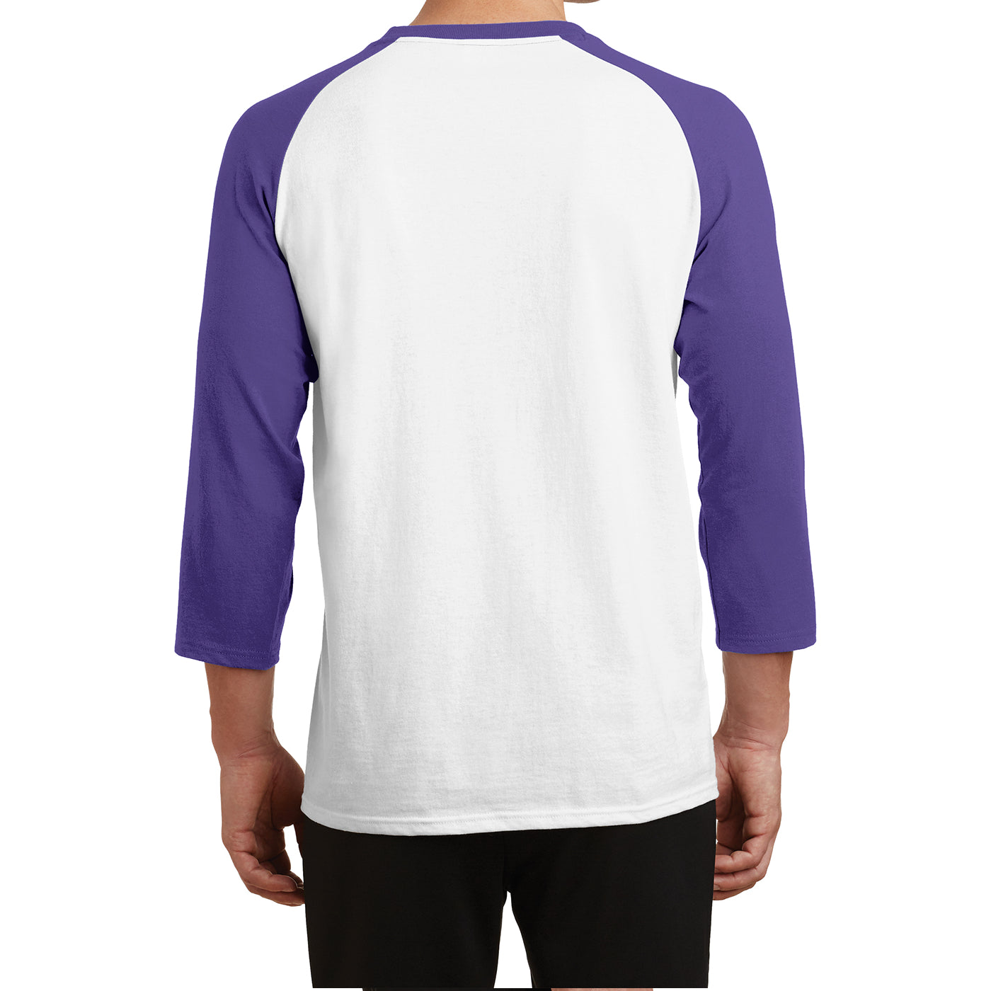 Men's Core Blend 3/4-Sleeve Raglan Tee - White/ Purple - Back
