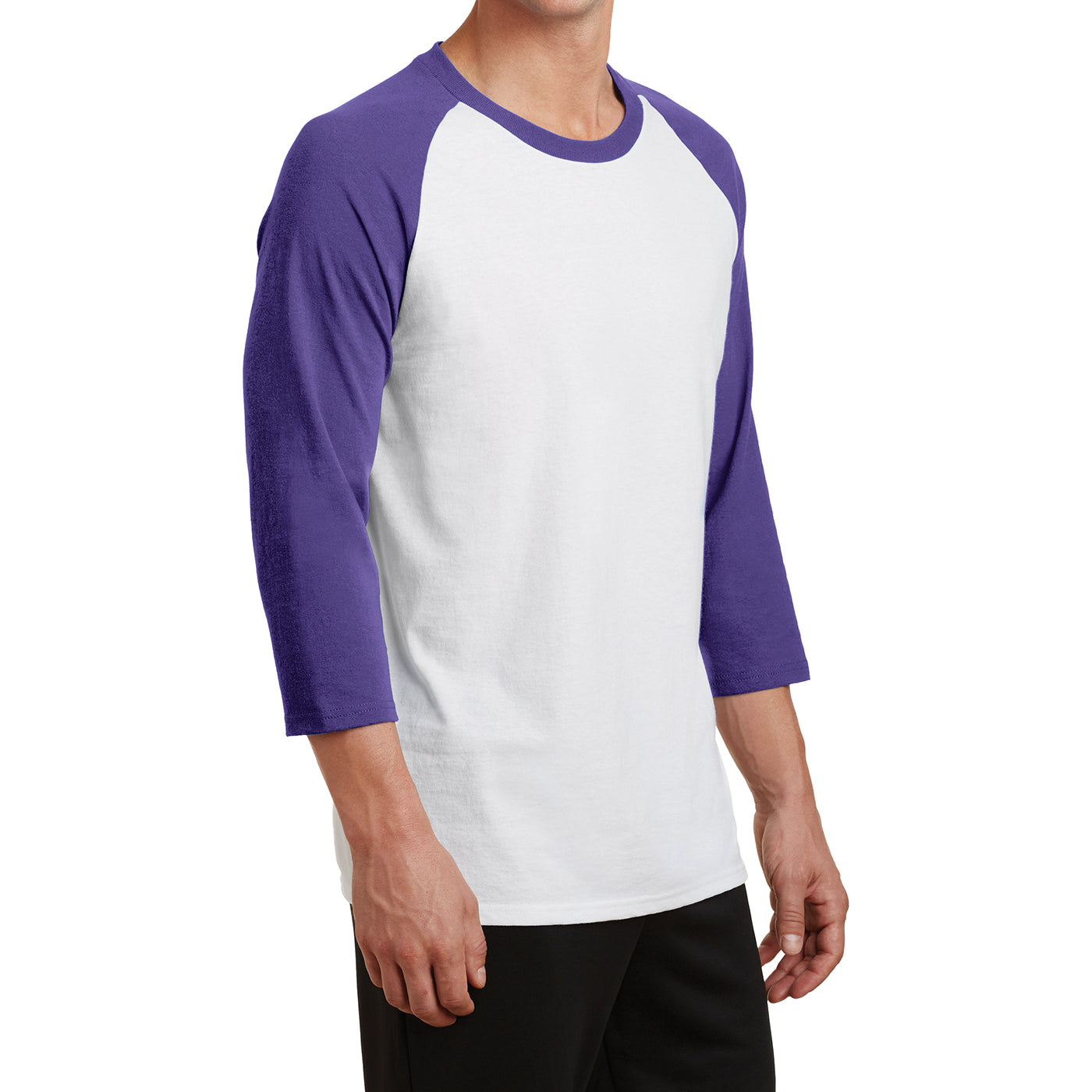 Men's Core Blend 3/4-Sleeve Raglan Tee - White/ Purple - Side
