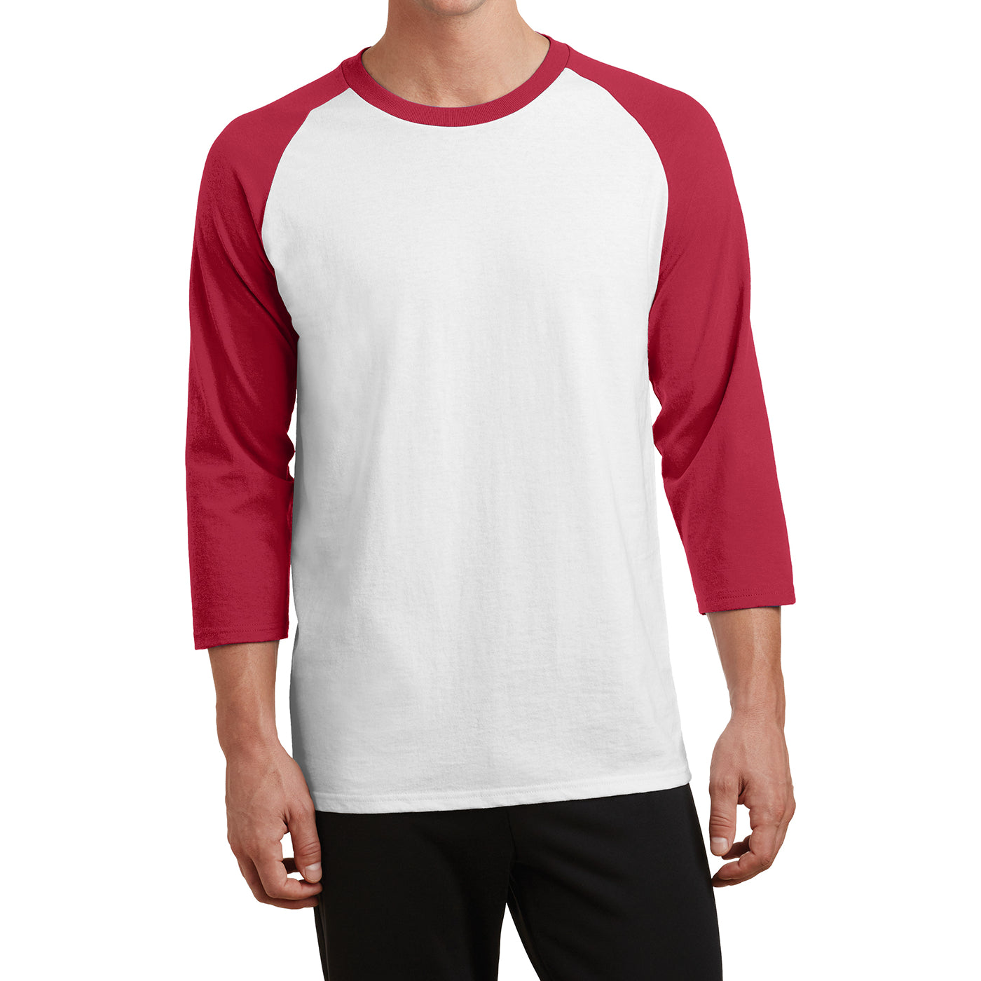 Men's Core Blend 3/4-Sleeve Raglan Tee - White/ Red - Front