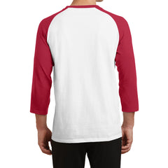 Men's Core Blend 3/4-Sleeve Raglan Tee - White/ Red - Back