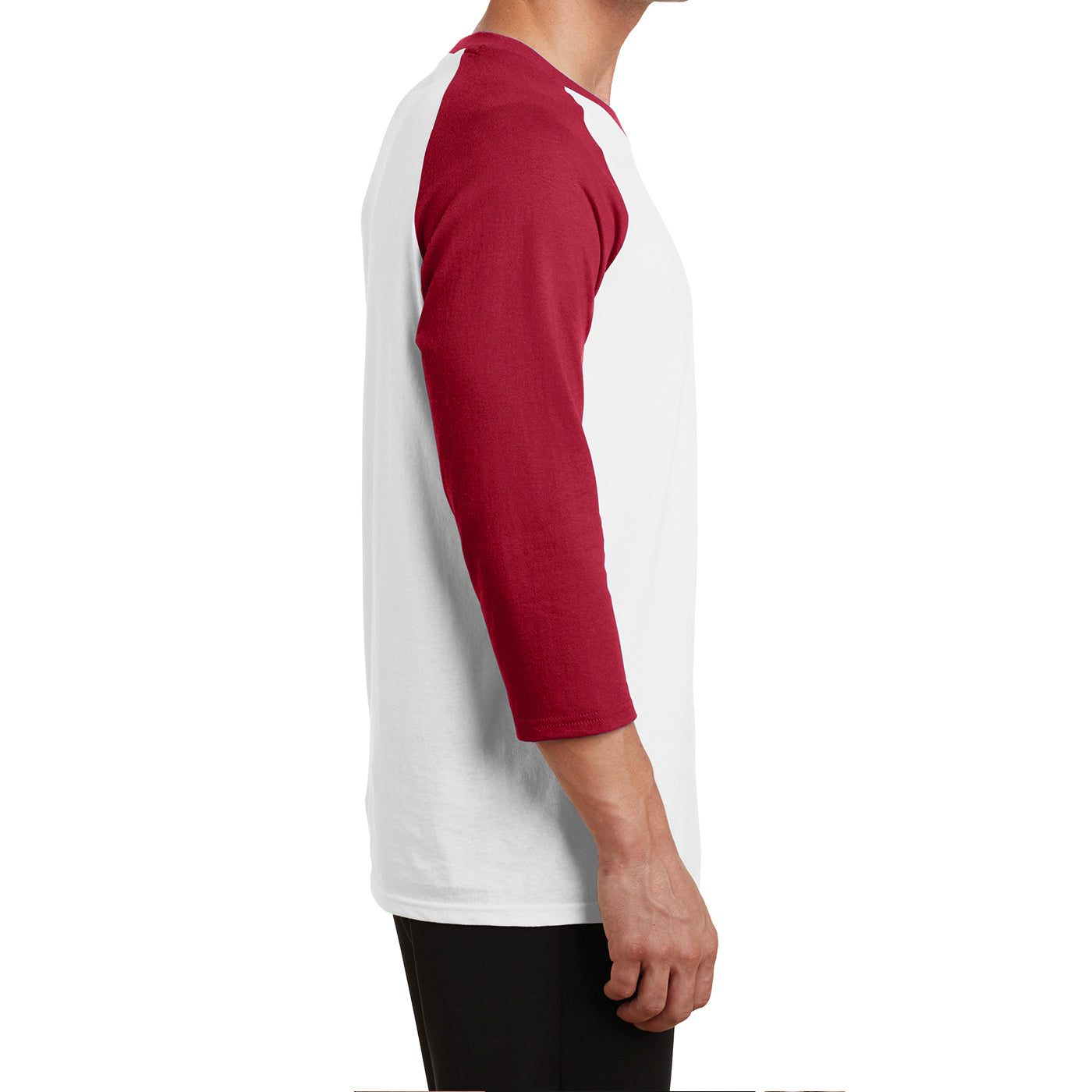 Men's Core Blend 3/4-Sleeve Raglan Tee - White/ Red - Side