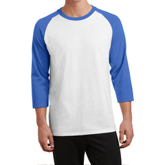 Men's Core Blend 3/4-Sleeve Raglan Tee - White/ Royal - Front