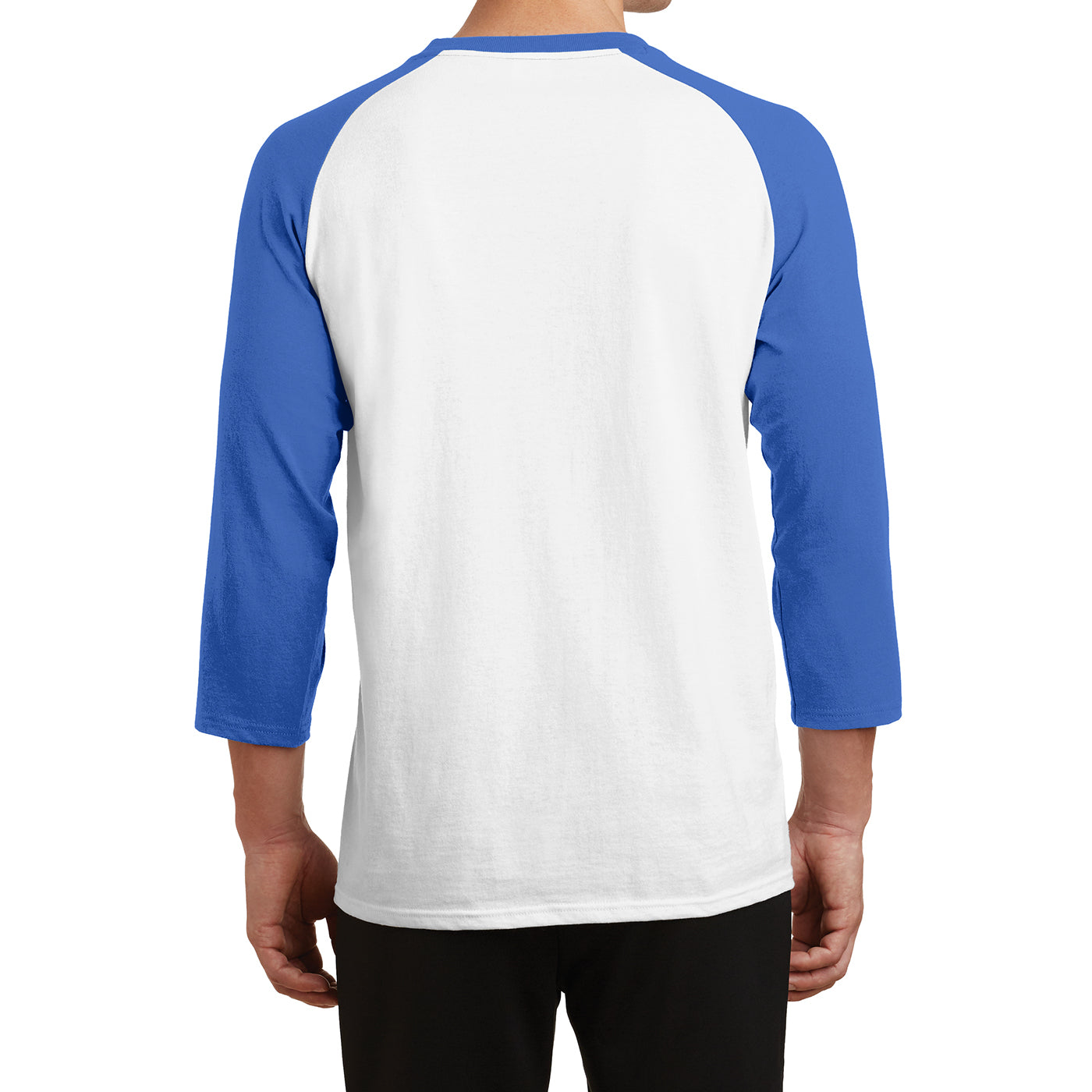 Men's Core Blend 3/4-Sleeve Raglan Tee - White/ Royal - Back