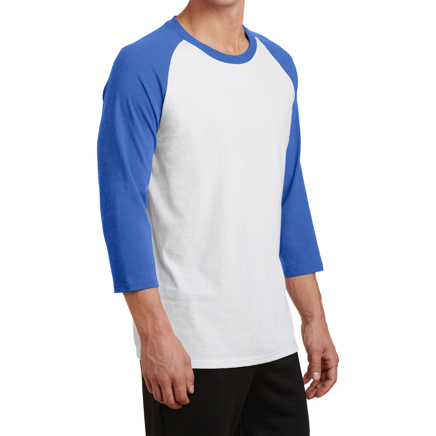 Men's Core Blend 3/4-Sleeve Raglan Tee - White/ Royal - Side