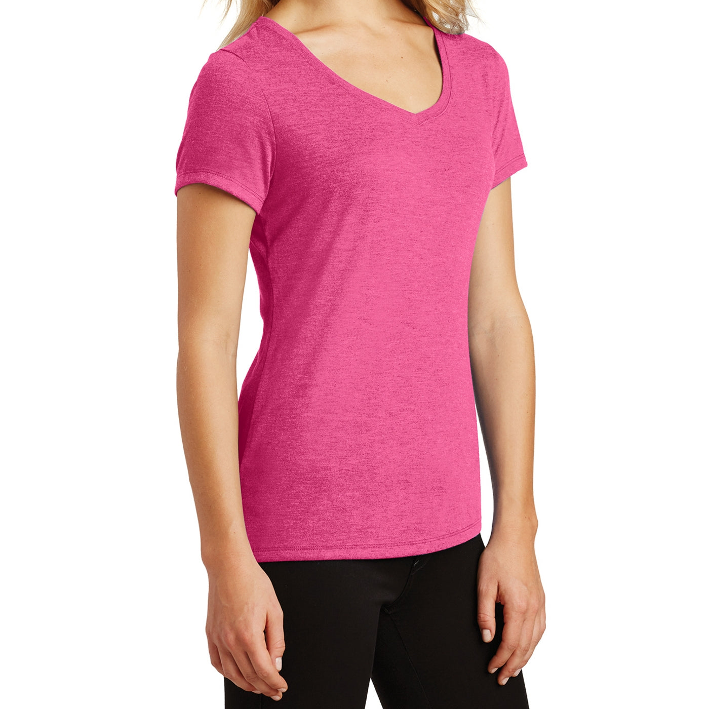 Women's Perfect Tri V-Neck Tee - Fuchsia Frost - Side