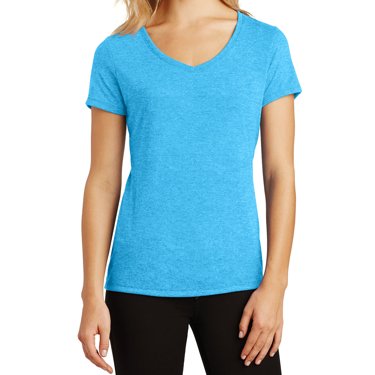 Women's Perfect Tri V-Neck Tee - Turquoise Frost - Front