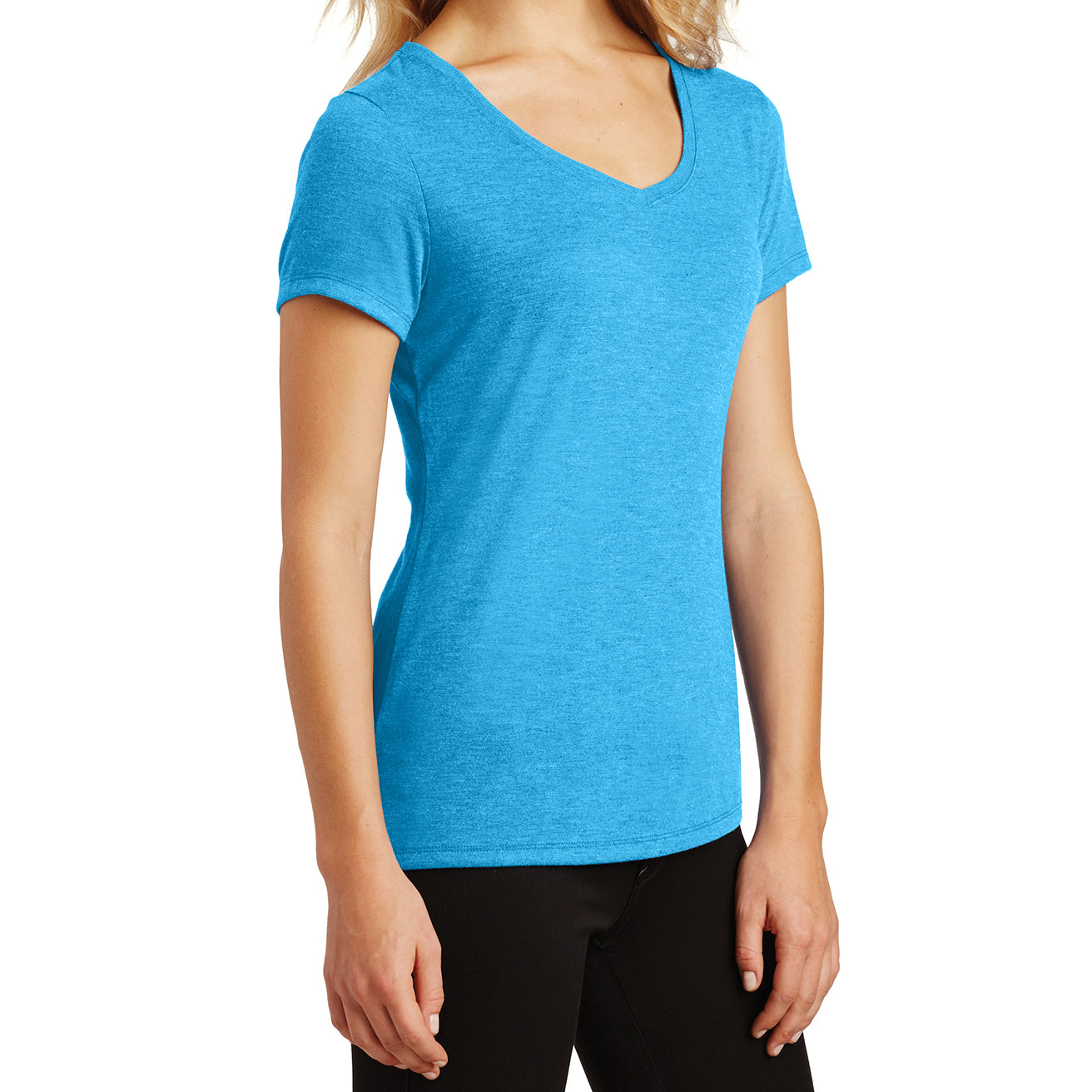 Women's Perfect Tri V-Neck Tee - Turquoise Frost - Side