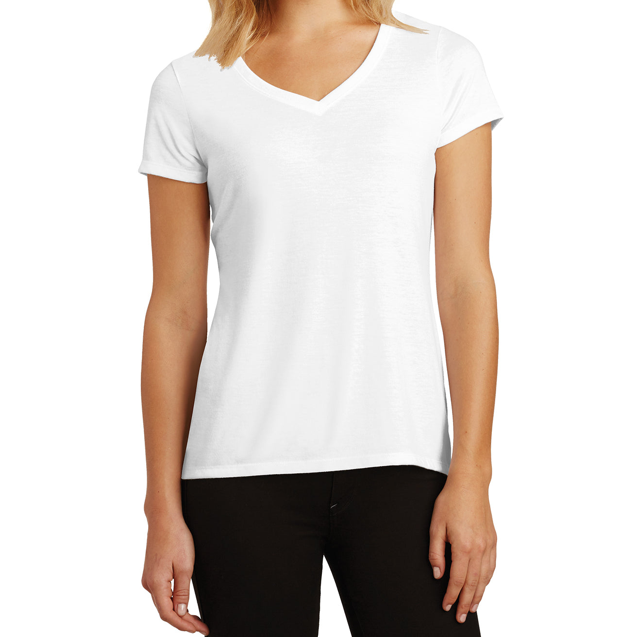 Women's Perfect Tri V-Neck Tee - White - Front