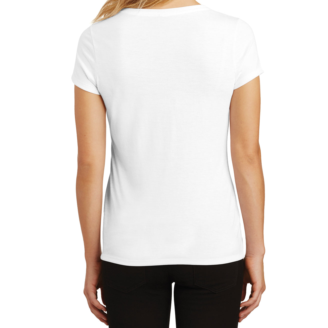 Women's Perfect Tri V-Neck Tee - White - Back
