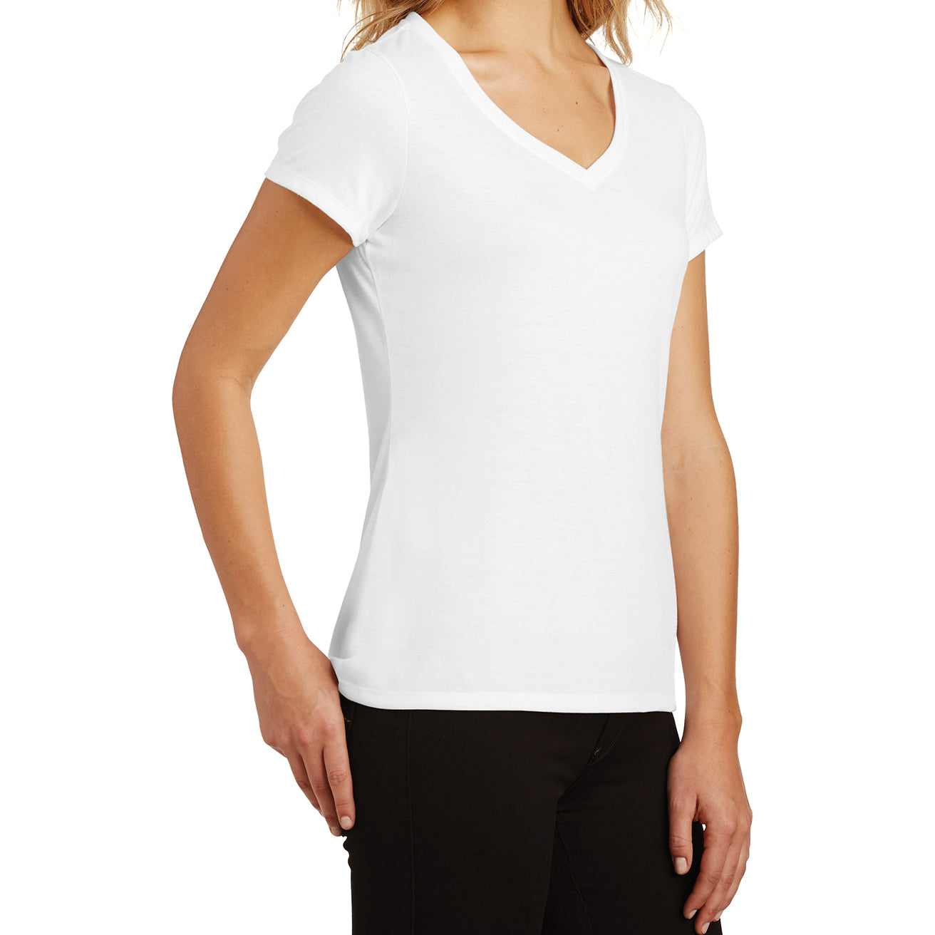 Women's Perfect Tri V-Neck Tee - White - Side