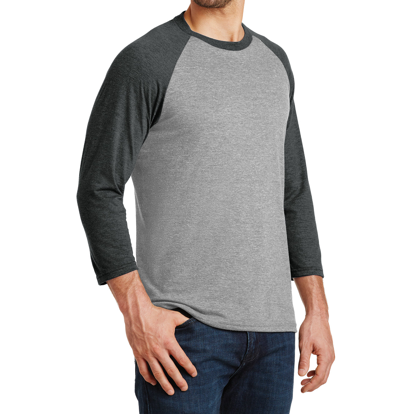 Men's Perfect Tri 3/4-Sleeve Raglan - Black Frost/Grey Frost - Side