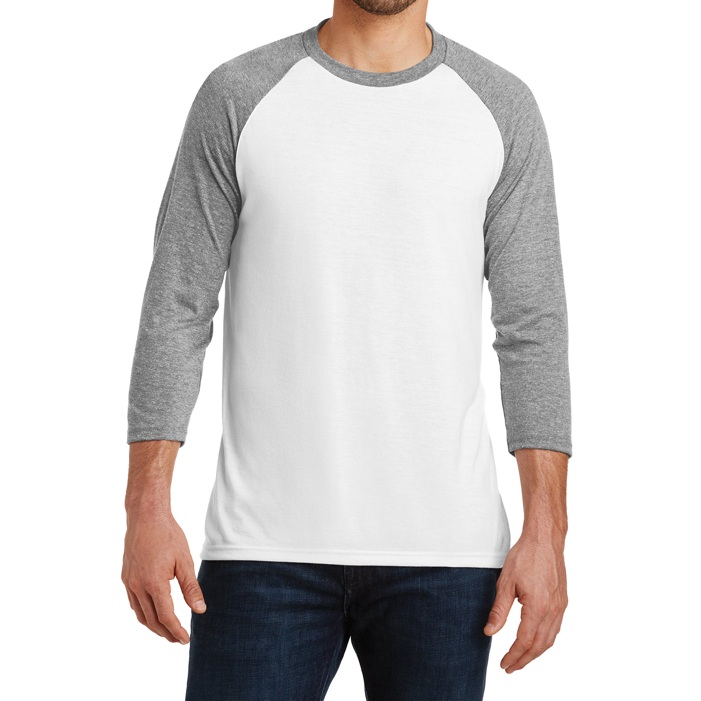 Men's Perfect Tri 3/4-Sleeve Raglan - Grey Frost/White - Front
