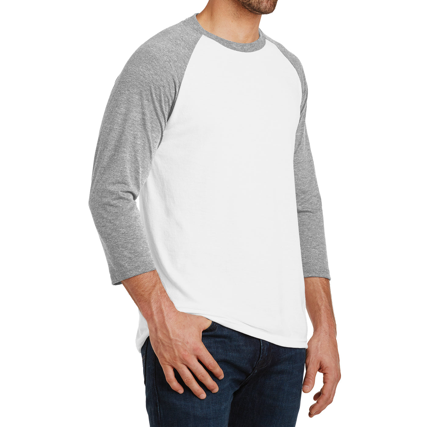 Men's Perfect Tri 3/4-Sleeve Raglan - Grey Frost/White - Side