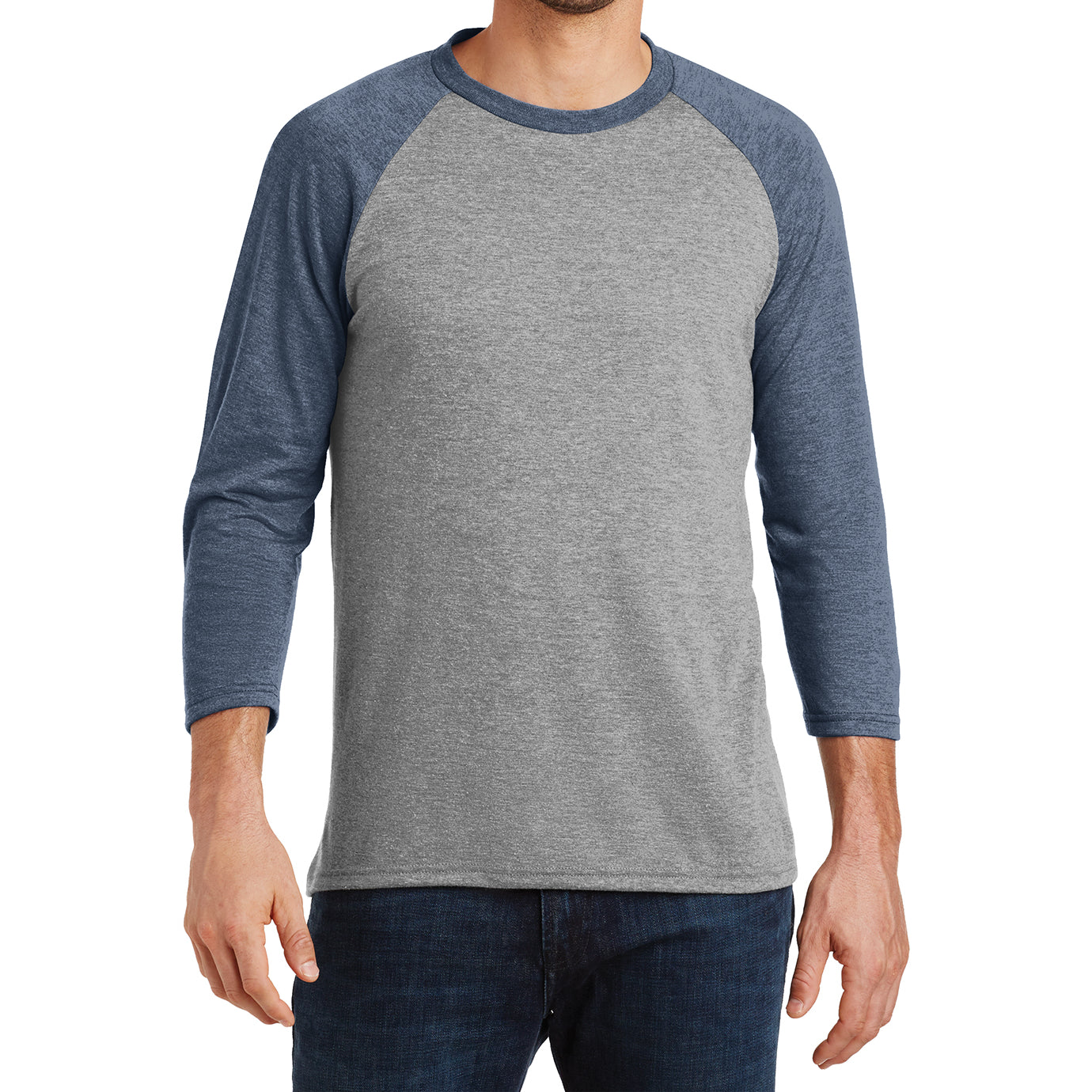 Men's Perfect Tri 3/4-Sleeve Raglan - Navy Frost/Grey Frost - Front