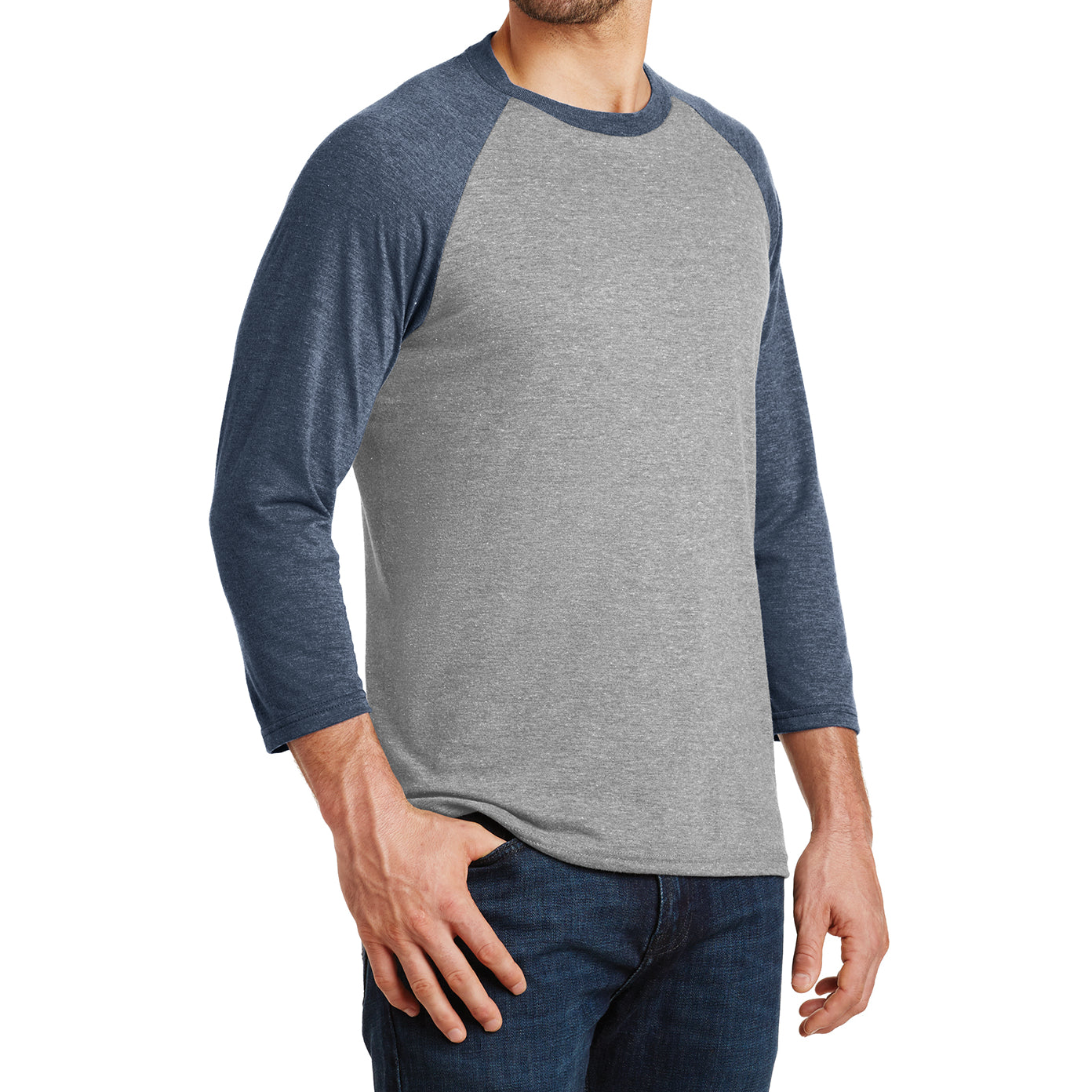 Men's Perfect Tri 3/4-Sleeve Raglan - Navy Frost/Grey Frost - Side