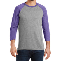 Men's Perfect Tri 3/4-Sleeve Raglan - Purple Frost/Grey Frost - Front