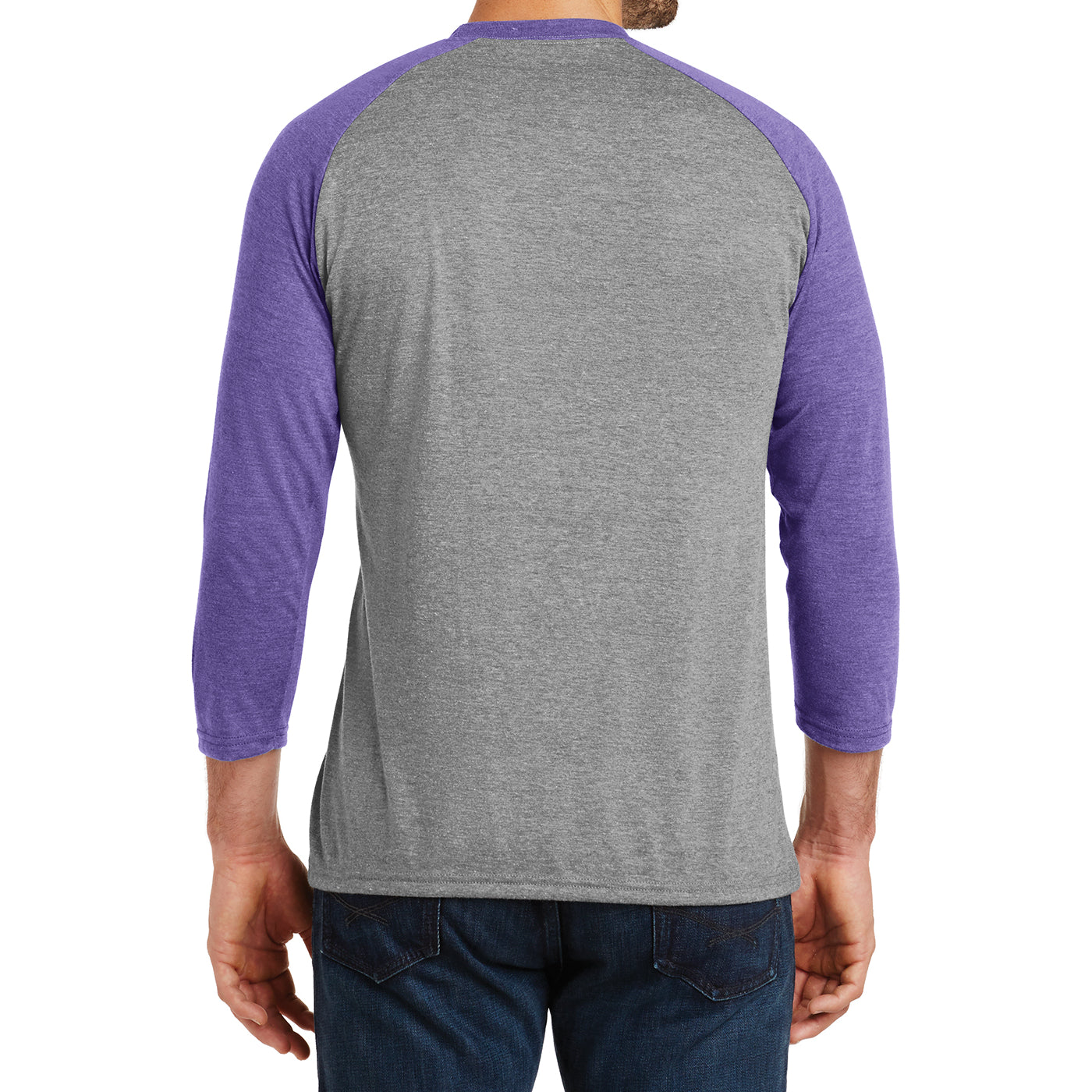 Men's Perfect Tri 3/4-Sleeve Raglan - Purple Frost/Grey Frost - Back