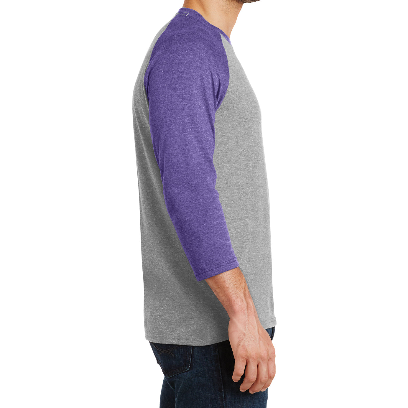 Men's Perfect Tri 3/4-Sleeve Raglan - Purple Frost/Grey Frost - Side
