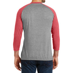 Men's Perfect Tri 3/4-Sleeve Raglan - Red Frost/Grey Frost - Back