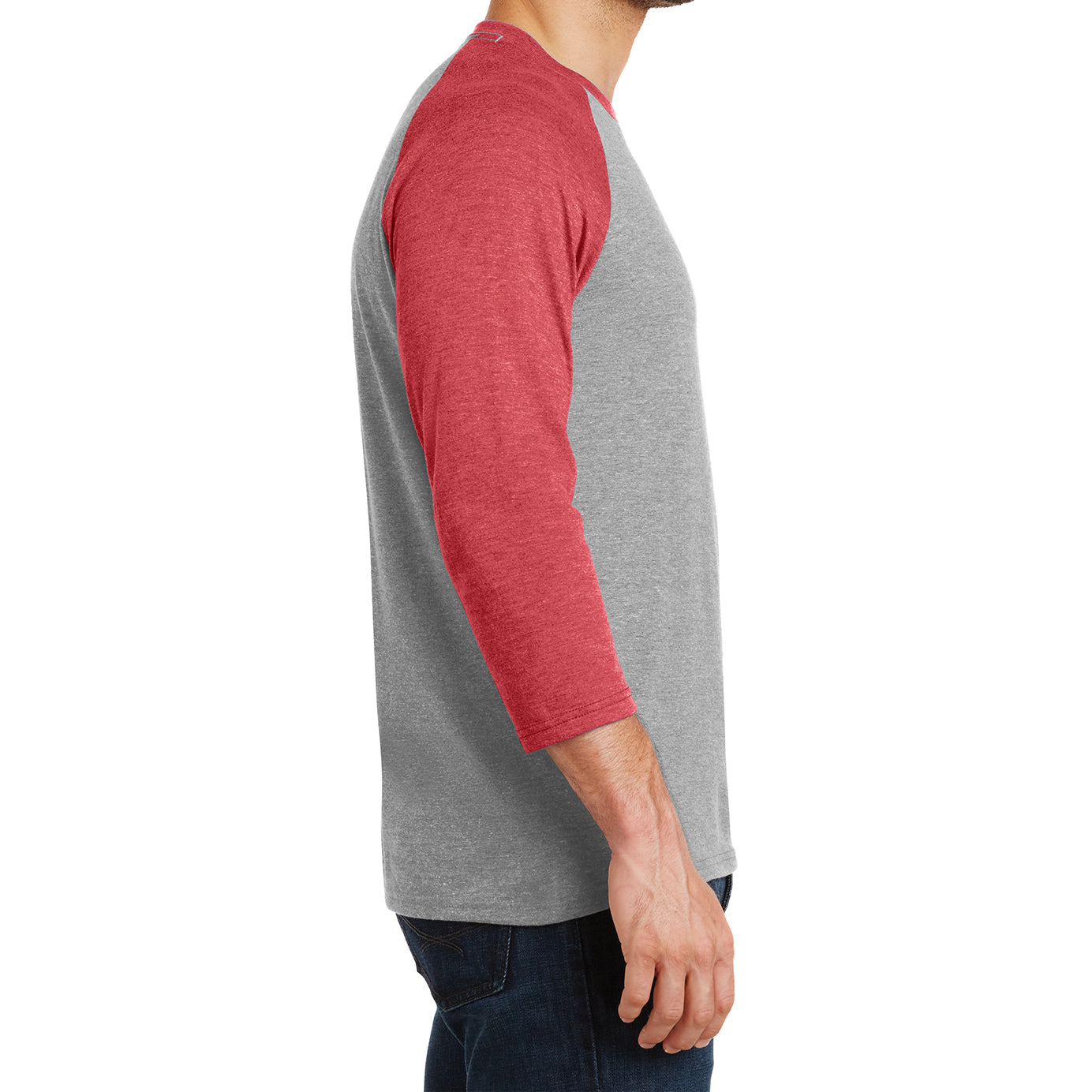 Men's Perfect Tri 3/4-Sleeve Raglan - Red Frost/Grey Frost - Side