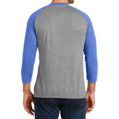 Men's Perfect Tri 3/4-Sleeve Raglan - Royal Frost/Grey Frost - Back