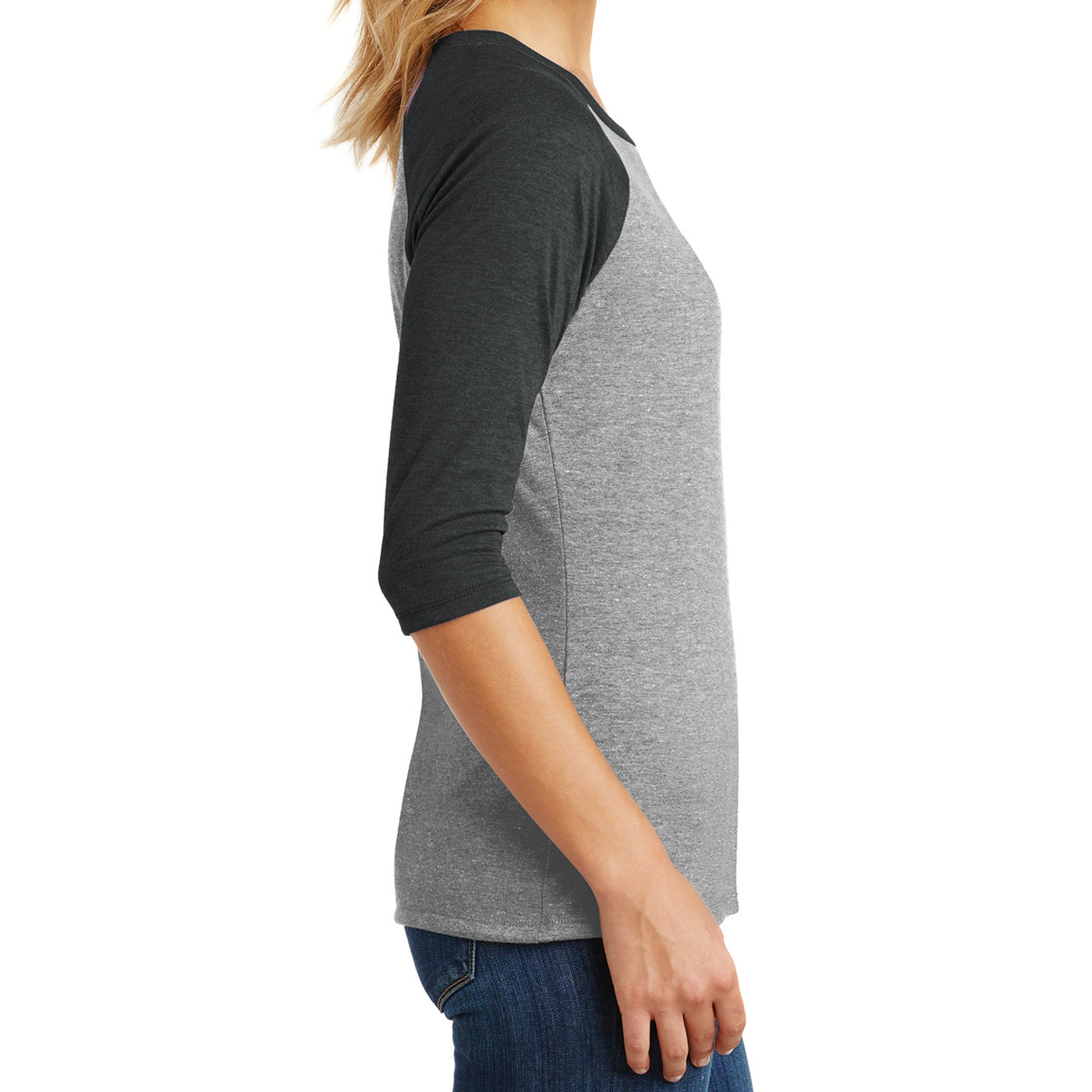 Women's Perfect Tri 3/4-Sleeve Raglan - Black Frost/ Grey Frost