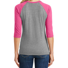 Women's Perfect Tri 3/4-Sleeve Raglan - Fuchsia Frost/ Grey Frost
