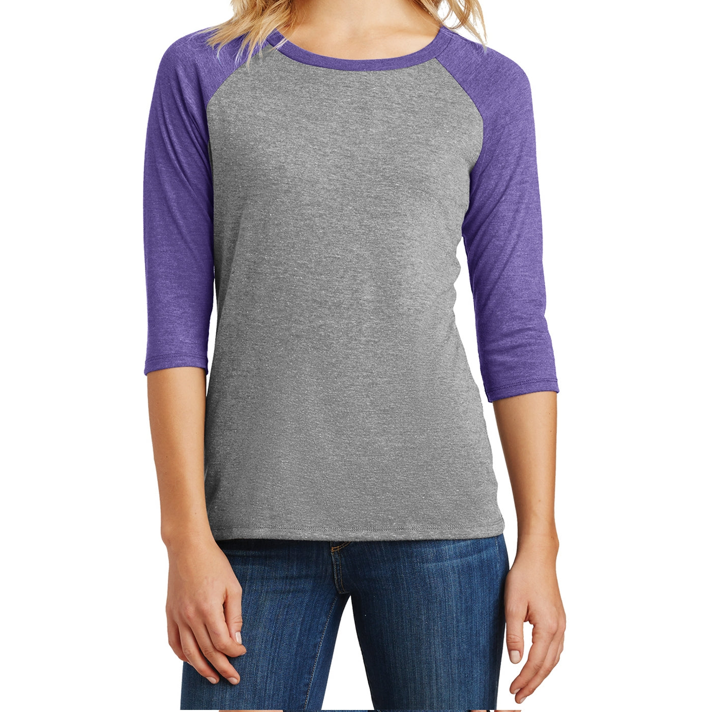 Women's Perfect Tri 3/4-Sleeve Raglan - Purple Frost/ Grey Frost