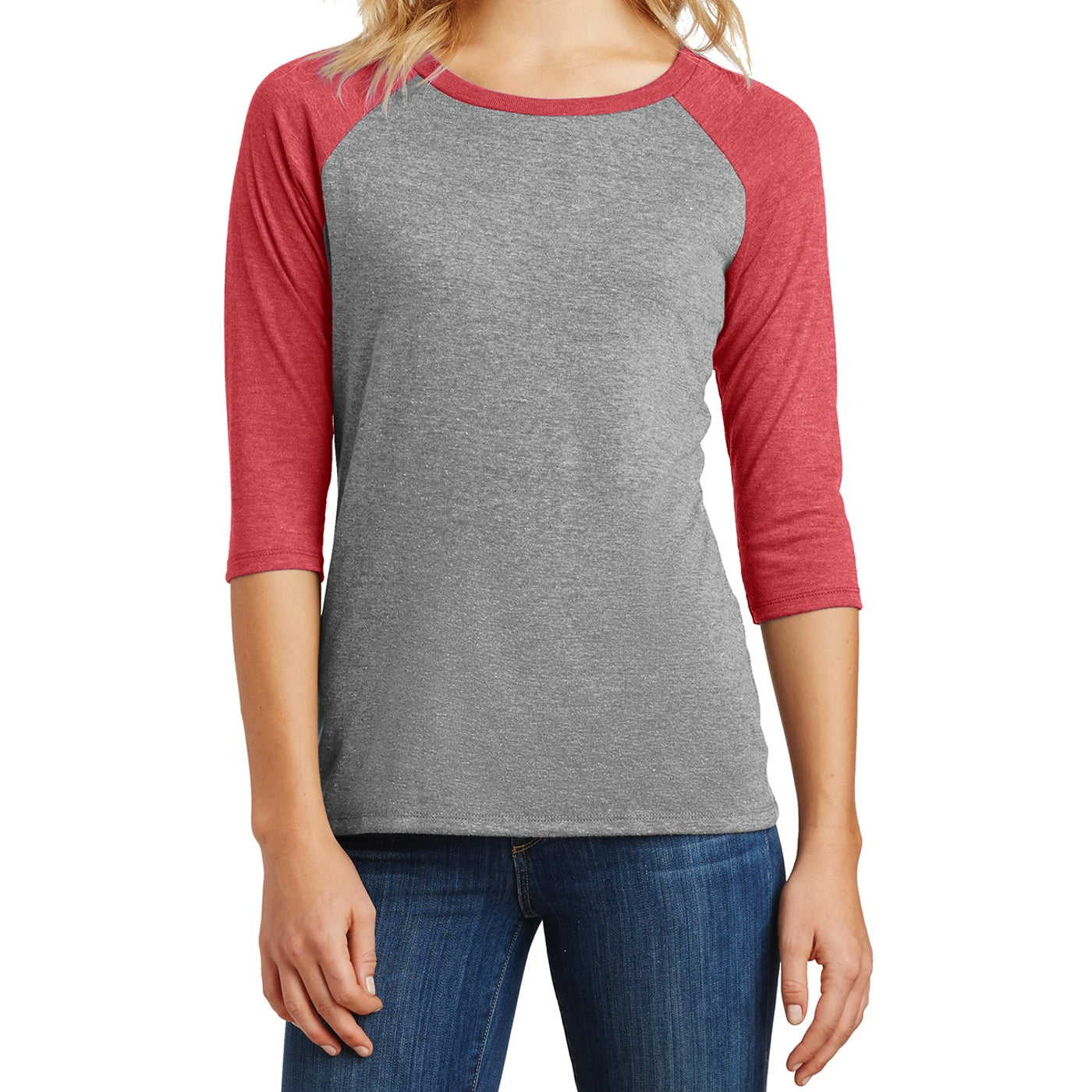 Women's Perfect Tri 3/4-Sleeve Raglan - Red Frost/ Grey Frost