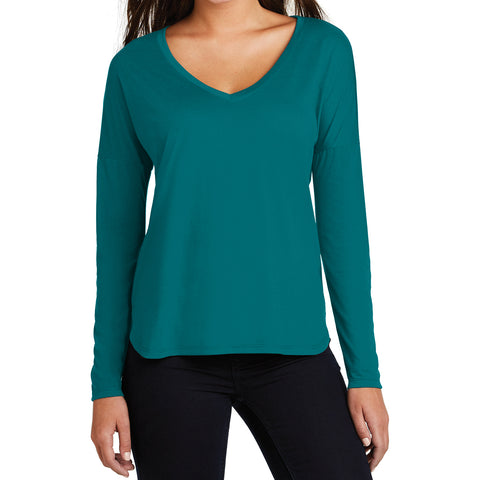 Women's Drapey Long Sleeve Tee - Teal - Front