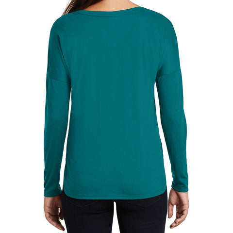 Women's Drapey Long Sleeve Tee - Teal - Back