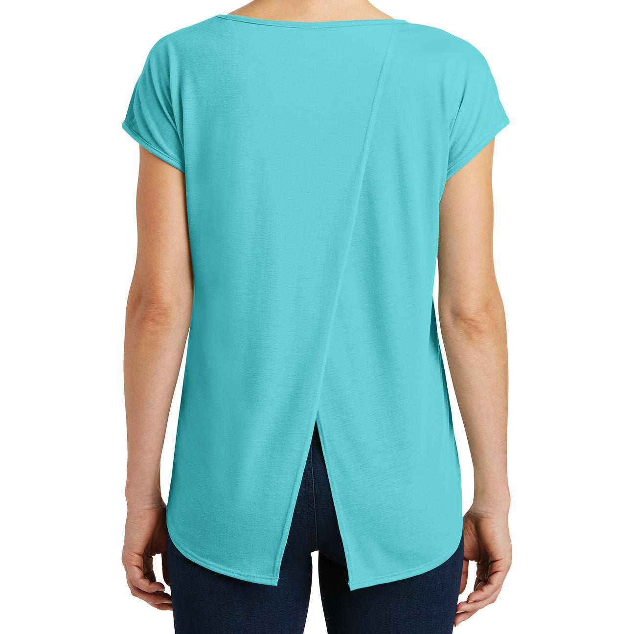 Womens Drapey Cross-Back Tee - Aqua Ice - Back