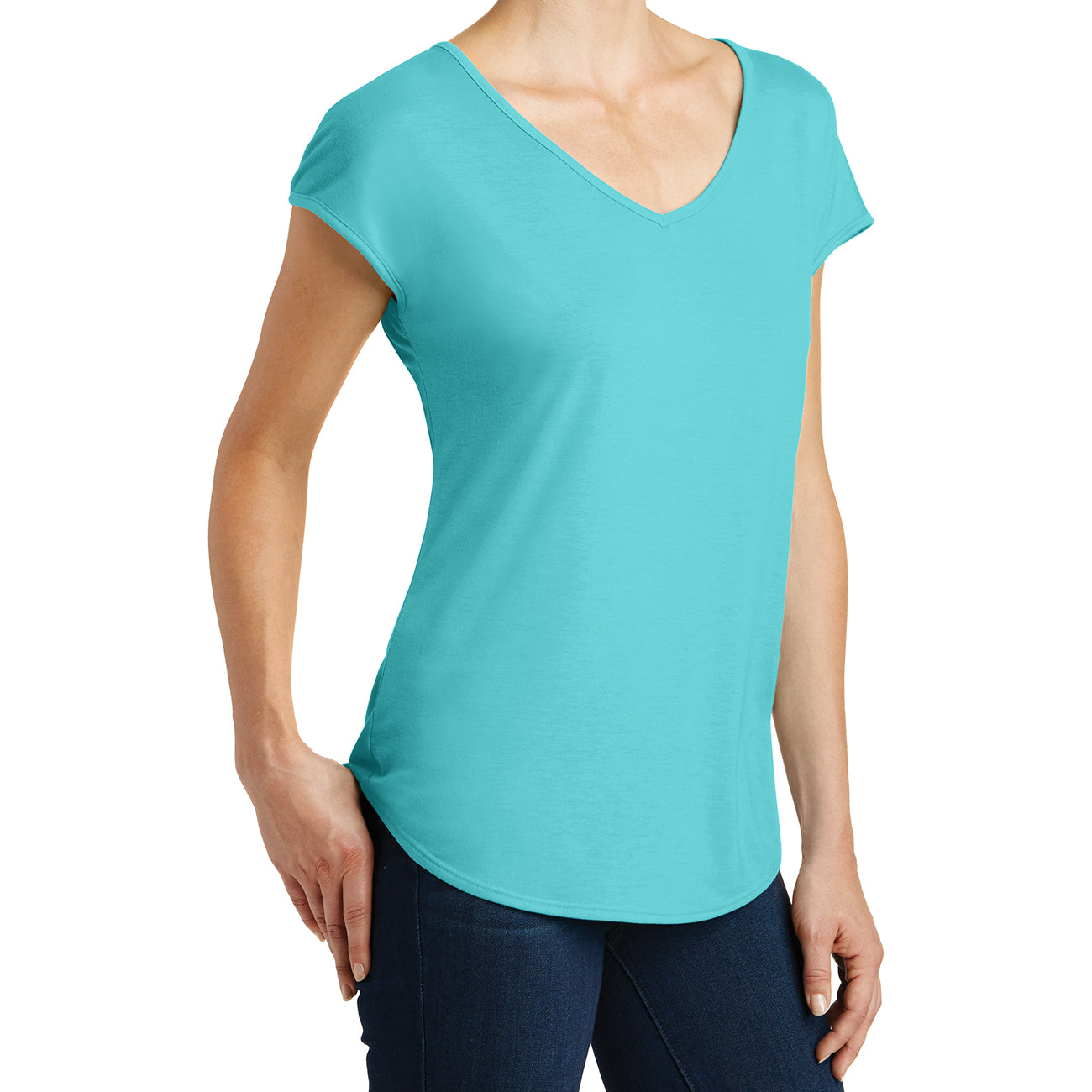 Womens Drapey Cross-Back Tee - Aqua Ice - Side