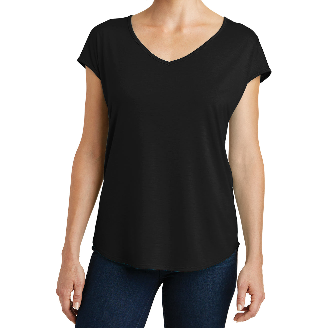 Womens Drapey Cross-Back Tee - Black - Front