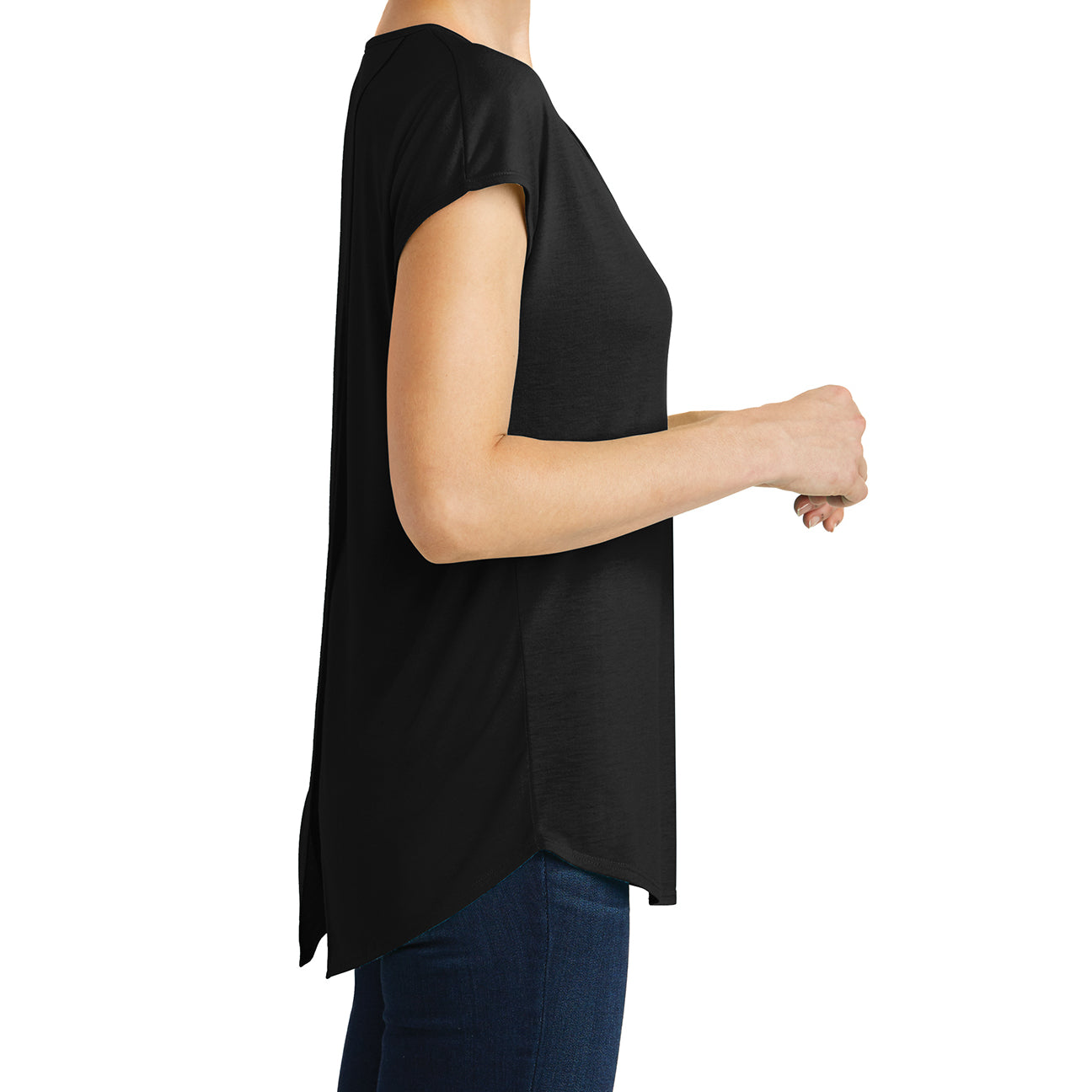 Womens Drapey Cross-Back Tee - Black - Side