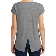 Womens Drapey Cross-Back Tee - Heathered Nickel - Back