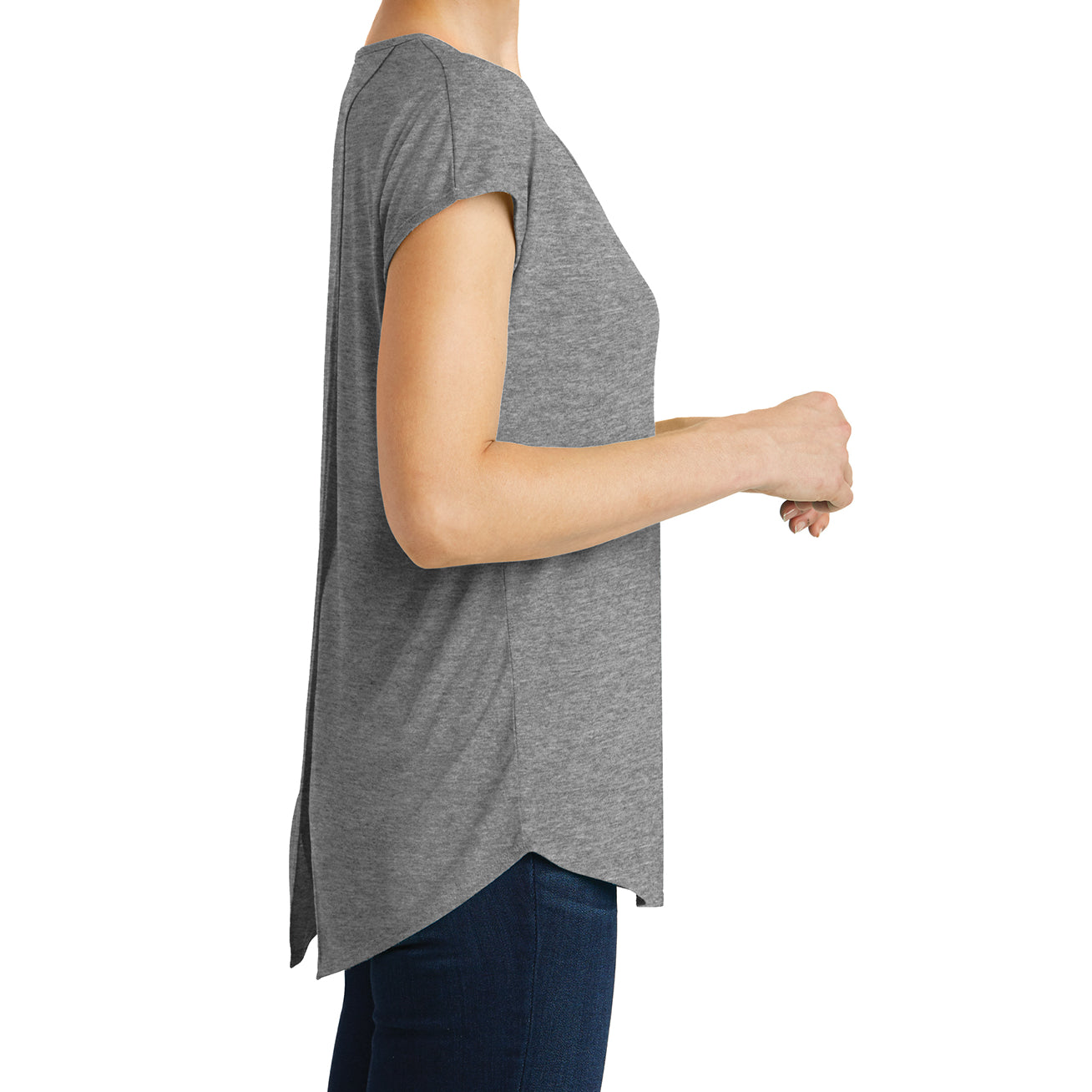 Womens Drapey Cross-Back Tee - Heathered Nickel - Side