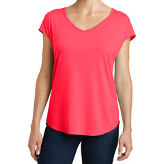 Womens Drapey Cross-Back Tee - Hot Coral - Front