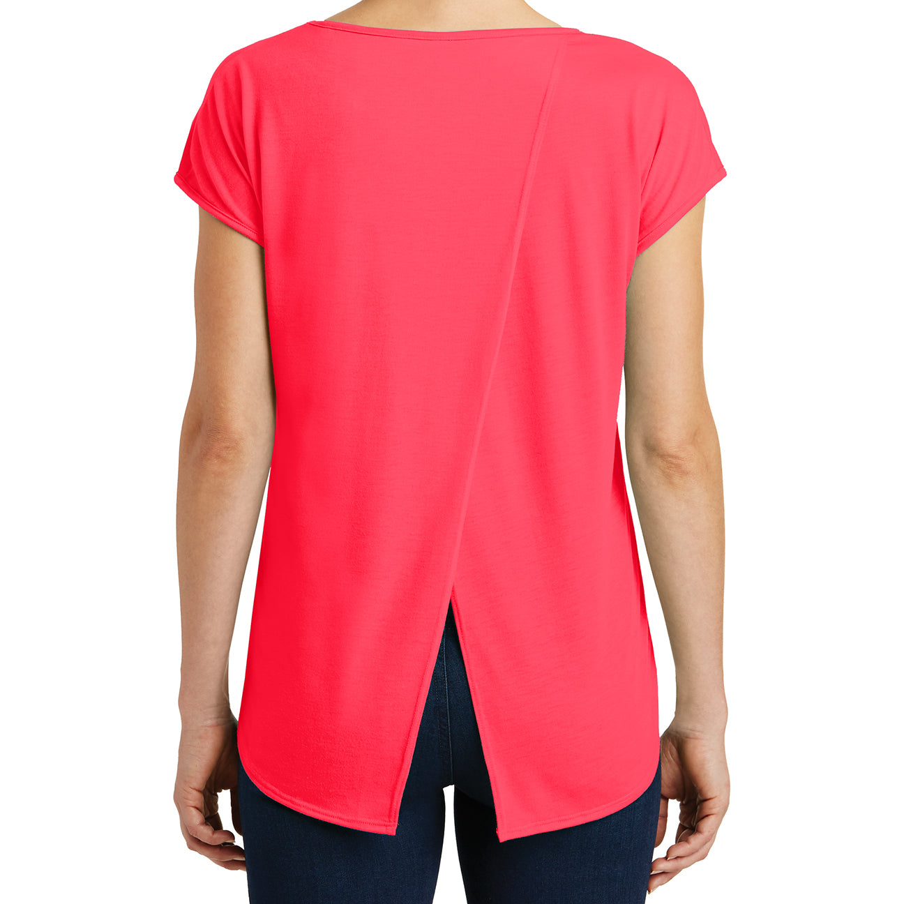 Womens Drapey Cross-Back Tee - Hot Coral - Back