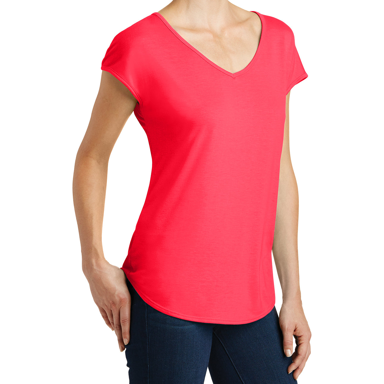 Womens Drapey Cross-Back Tee - Hot Coral - Side