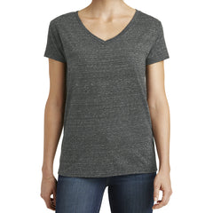 Womens Cosmic Relaxed V-Neck Tee - Black/Grey Cosmic - Front