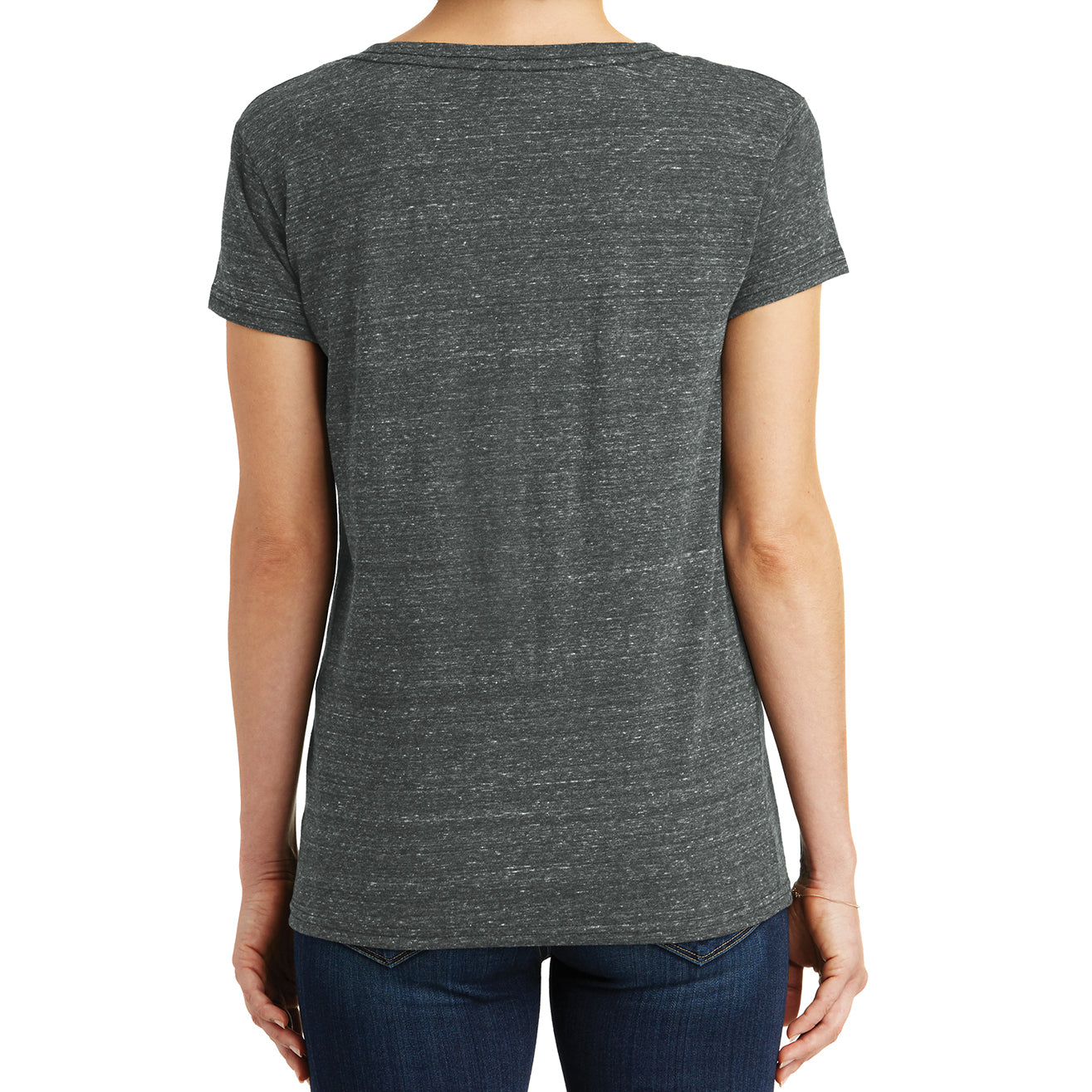 Womens Cosmic Relaxed V-Neck Tee - Black/Grey Cosmic - Back