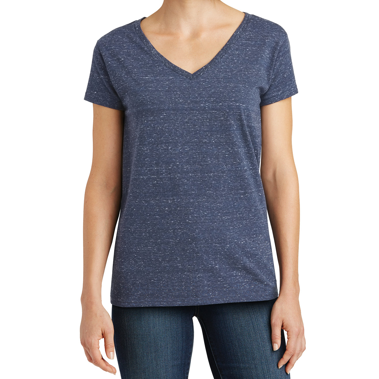 Womens Cosmic Relaxed V-Neck Tee - Navy/Royal Cosmic - Front